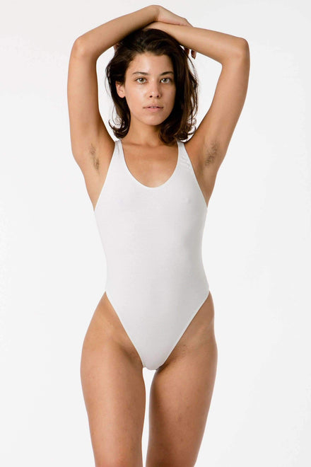 B108CT - Racerback Thong Bodysuit Bodysuits Los Angeles Apparel White XS
