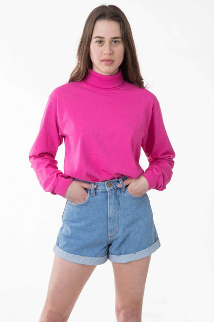 1811GD Unisex - Long Sleeve Garment Dye Turtleneck T-Shirt Los Angeles Apparel Raspberry XS