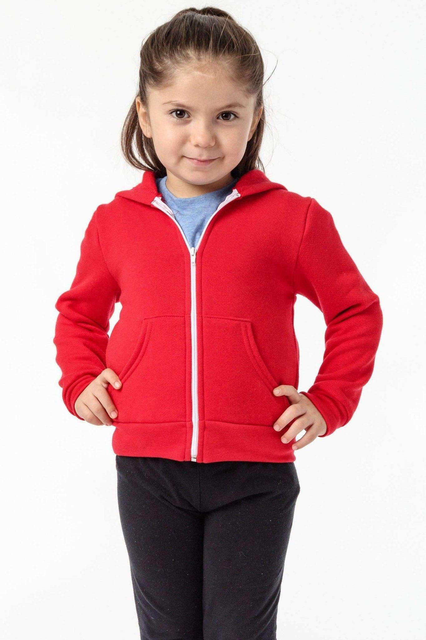 F1097 - Toddler Poly Cotton Zip Hoodie Kids Los Angeles Apparel Red 2