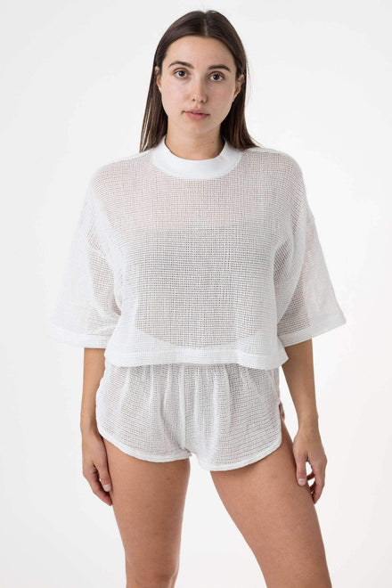 RIN331 - Cotton Fishnet Crop Top T-Shirt Los Angeles Apparel Natural OS