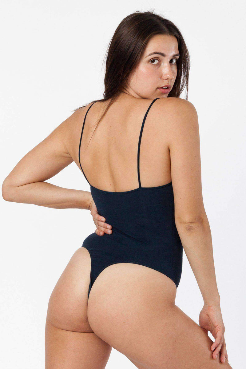 B100CT - Spaghetti Thong Bodysuit Bodysuits Los Angeles Apparel Midnight Navy XS