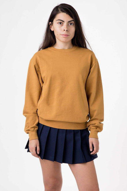 MWT07GD Unisex - Long Sleeve Garment Dye French Terry Pullover Sweatshirt Los Angeles Apparel Camel XS
