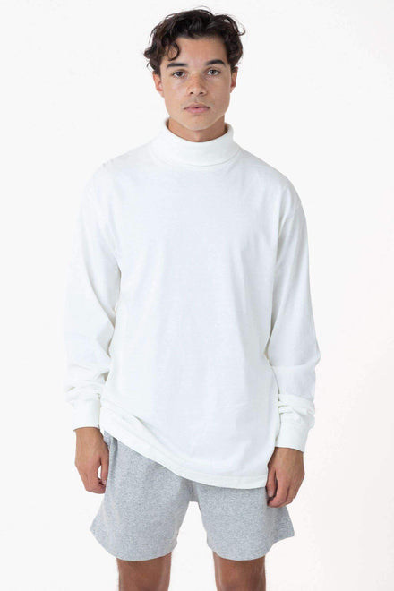 1811GD Unisex - Long Sleeve Garment Dye Turtleneck T-Shirt Los Angeles Apparel White XS