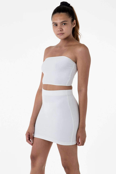 8385 - Cotton Spandex Mini Skirt Skirt Los Angeles Apparel White XS