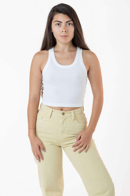 4328 - Sporty Baby Rib Crop Tank Top Los Angeles Apparel White OS