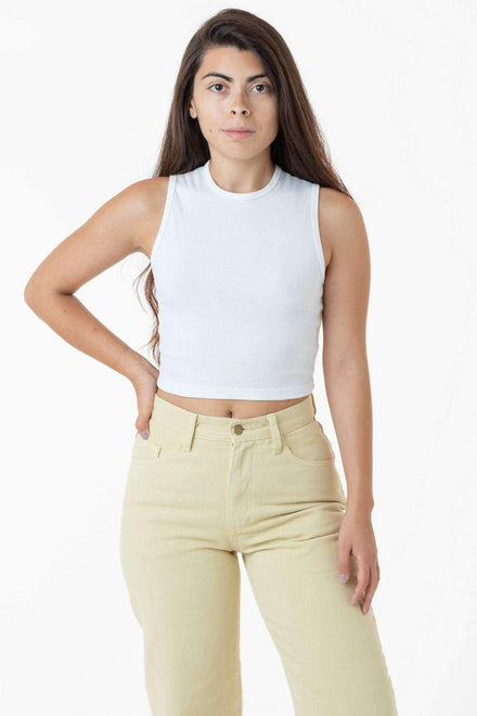 43065 - Baby Rib Sleeveless Crew Neck Top Los Angeles Apparel White OS