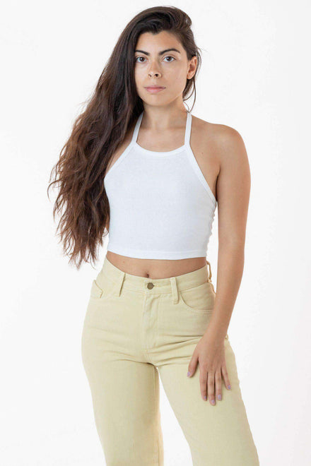 43091 - Baby Rib Halter Top Top Los Angeles Apparel White OS