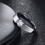 Diamond Platinum Silver Classic Ring
