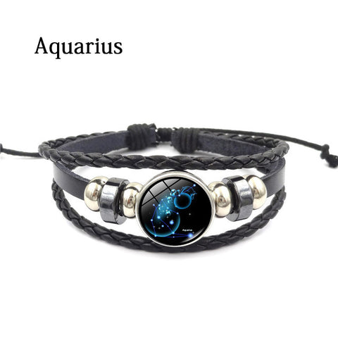 Constellation Glass Charm Leather Bracelet