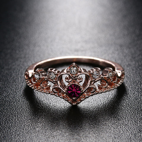 Rose Gold Crown Rhinestone Ring