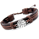 Football/Volleyball Charm Leather Bracelets