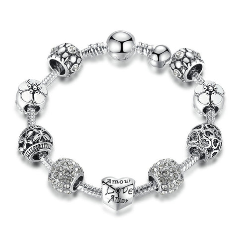 Antique Silver Charm Bracelet Bangle with Love