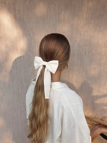 Margot Oversized Linen Scrunchie ~ Olive Green
