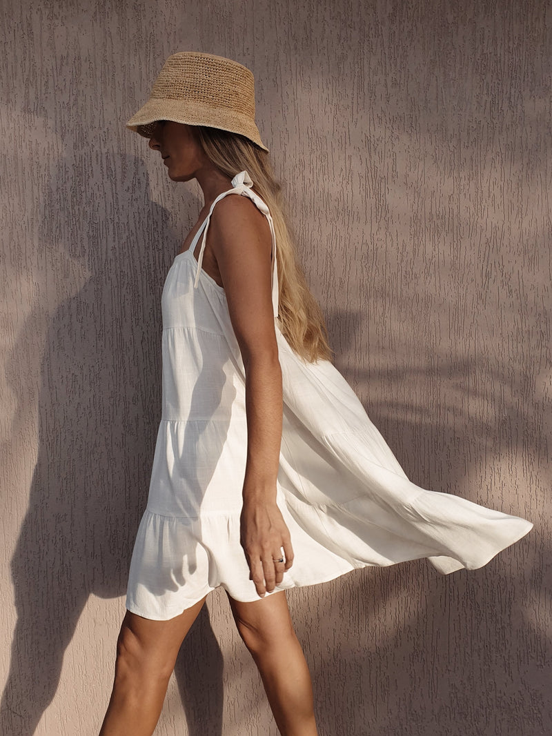 Rae Tiered Linen Dress ~ Ivory