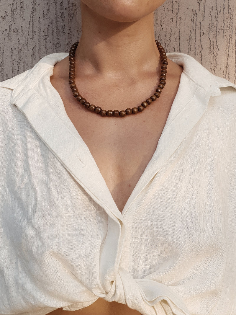 Koko Wooden Beaded Necklace ~ Brown