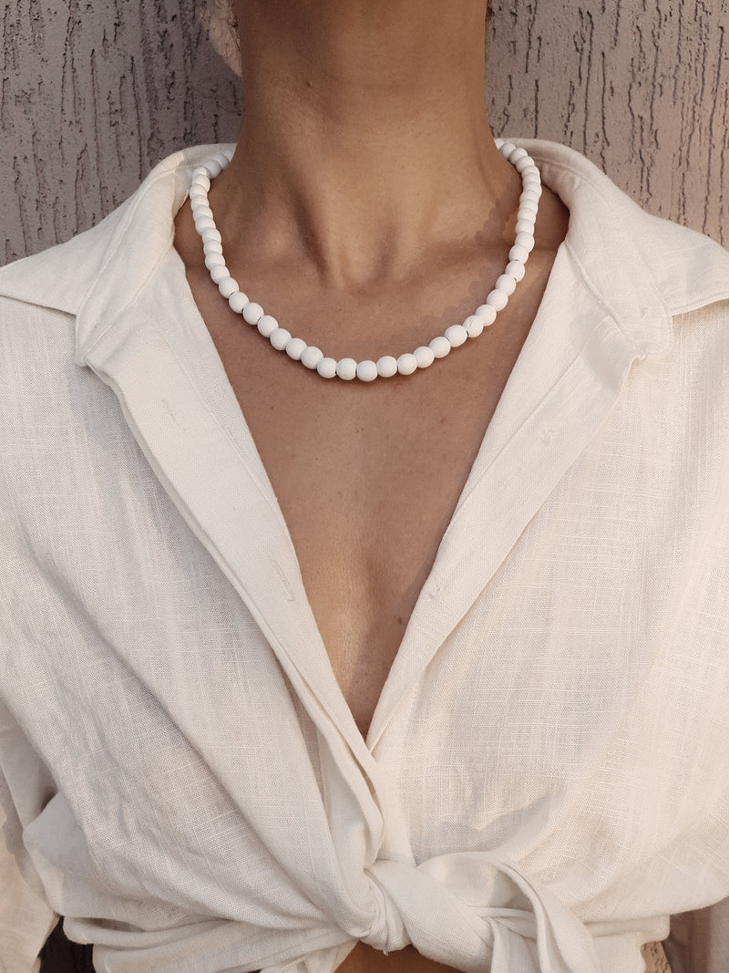 Koko Wooden Beaded Necklace ~ White
