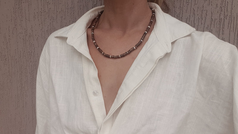 Behati Necklace ~ Coconut Shell & Sterling Silver