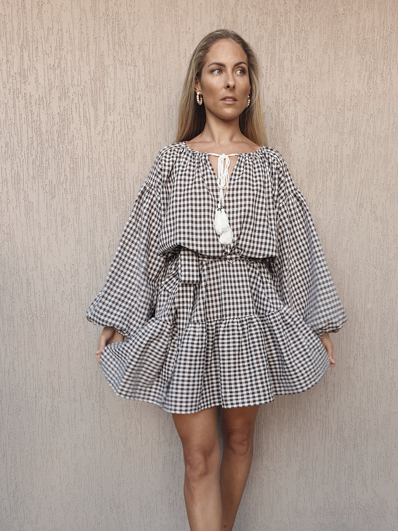 Marlo Dress ~ Chocolate Gingham