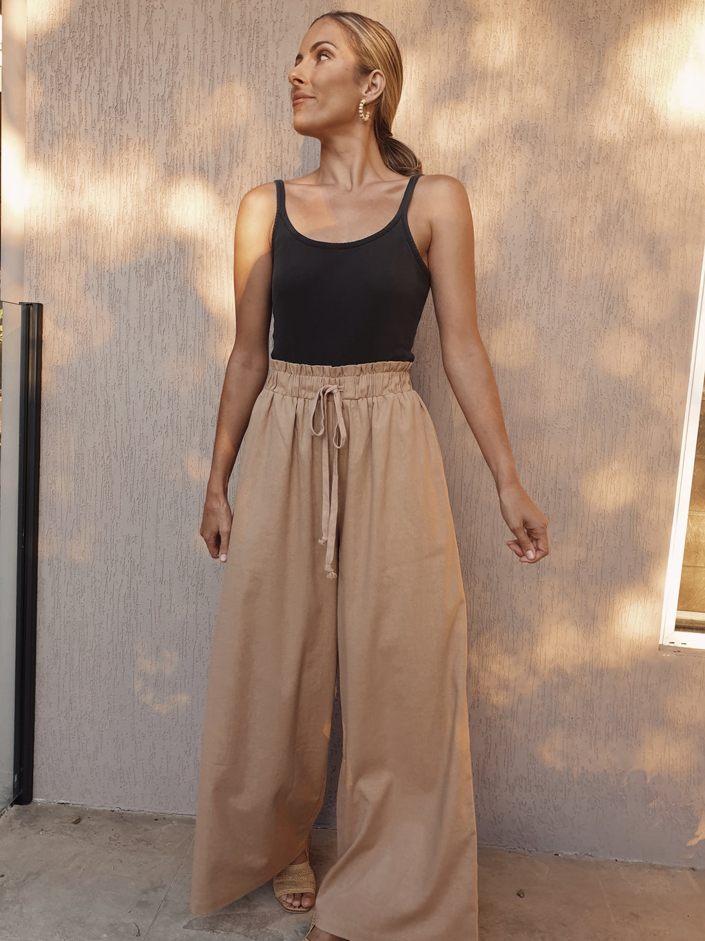 Beau Linen High Waist Pants ~ Latte