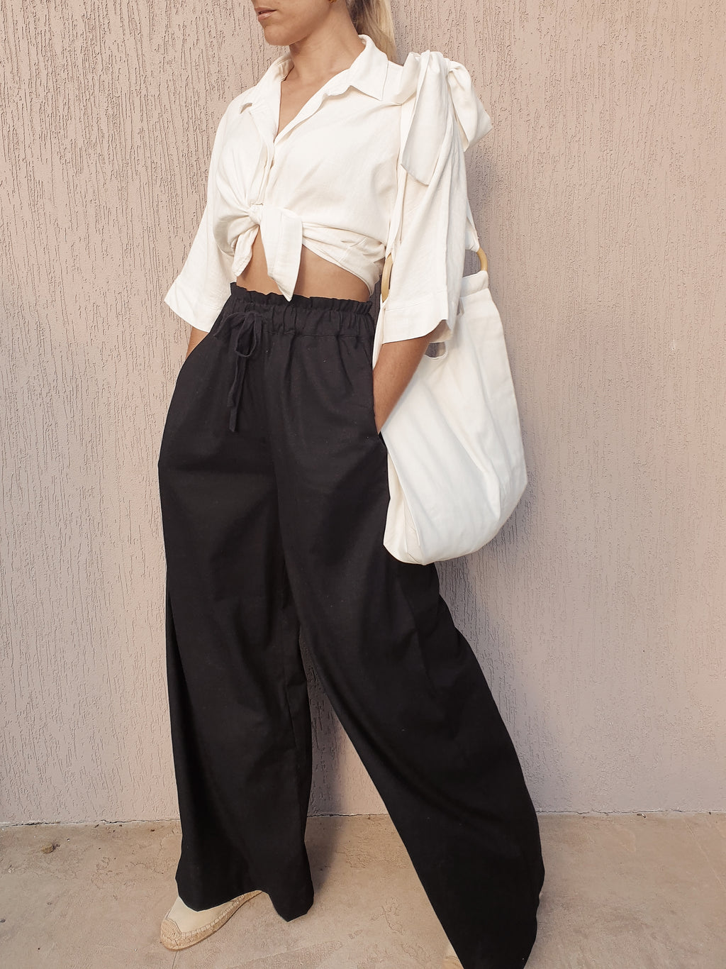Beau Linen High Waist Pants ~ Black