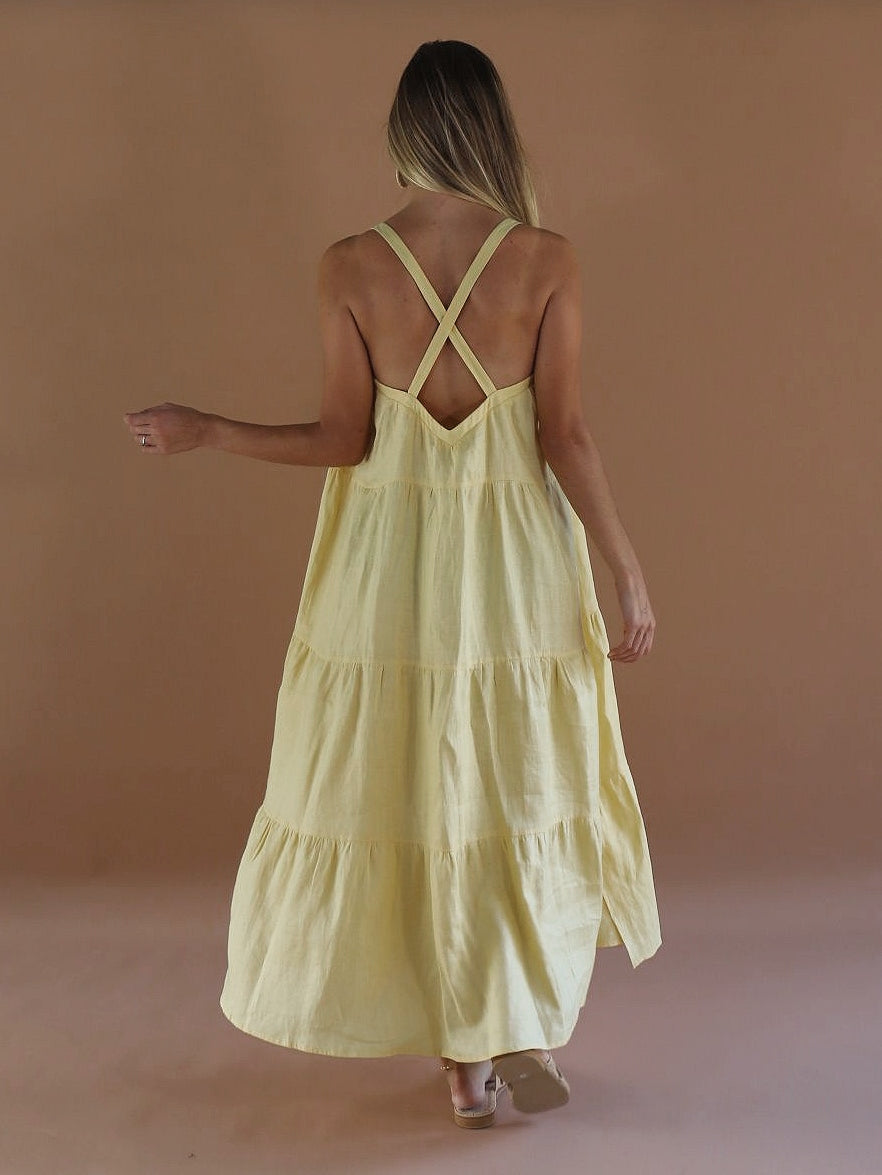 PRE-ORDER ~ Sol Linen Maxi Dress ~ Limoncello