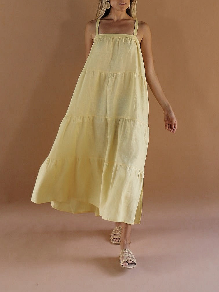 Sol Linen Maxi Dress ~ Limoncello