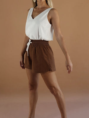 Ren Linen Mini Shorts ~ Espresso