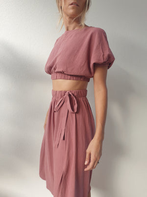 Paloma Linen Crop ~ Dusty Lilac