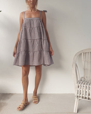 Rae Tiered Mini Dress ~ Chocolate Gingham
