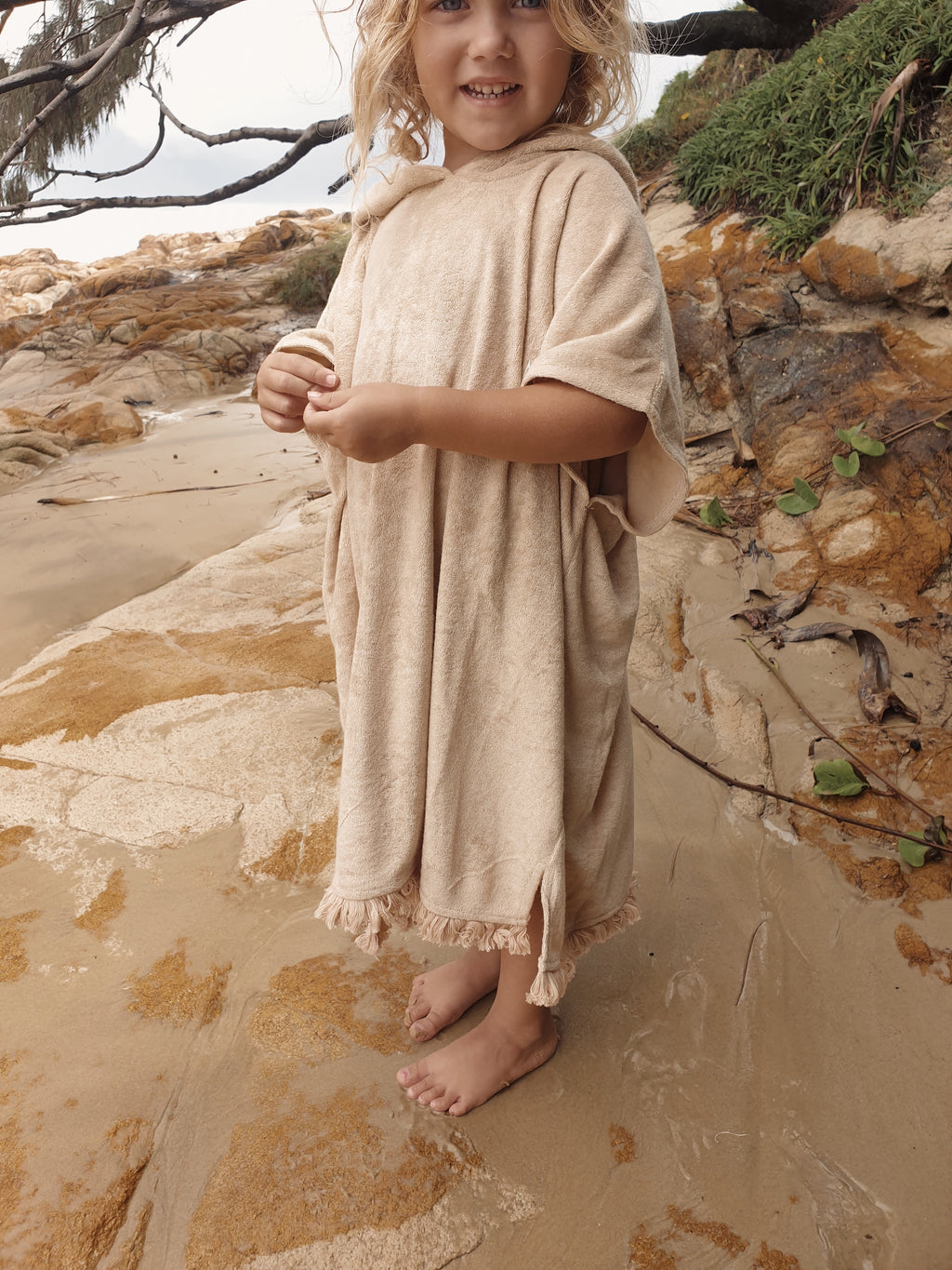 Kids Terry Beach Poncho - Sand