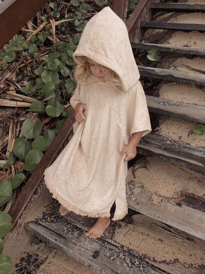 Kids Terry Towelling Poncho - Sand