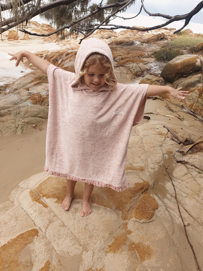 Kids Terry Beach Poncho - Dusty Pink