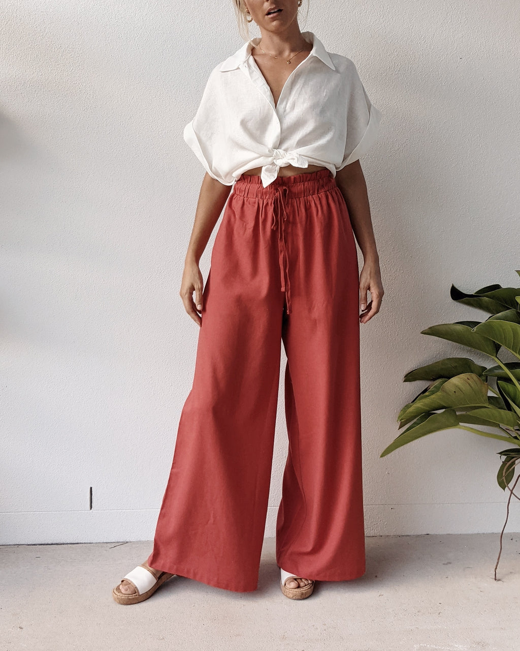 Beau Linen High Waist Pants ~ Terracotta Rose