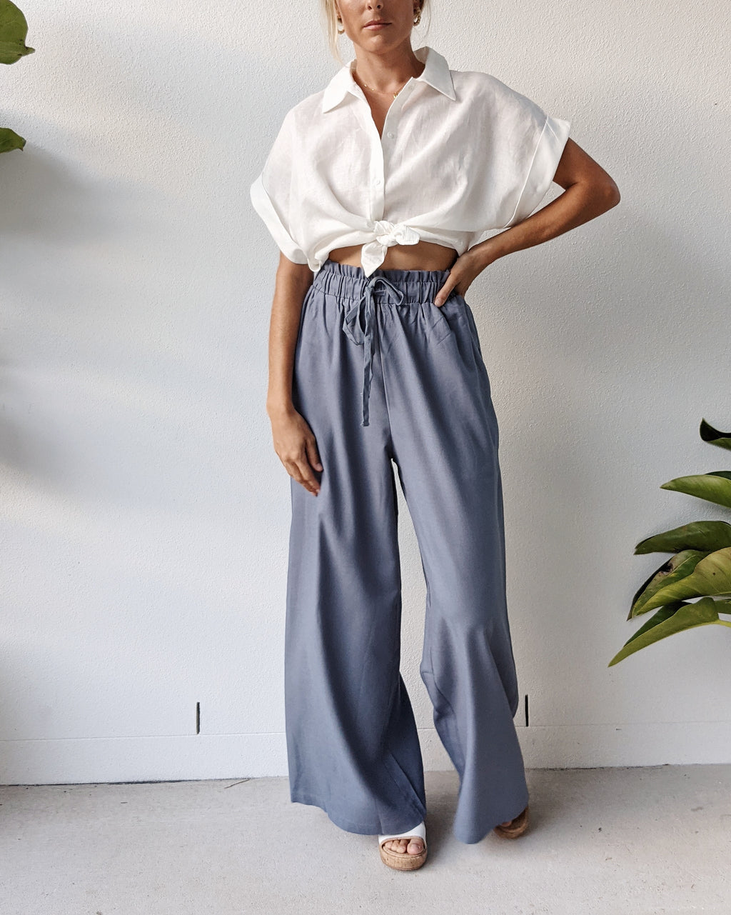 Beau Linen High Waist Pants ~ Chambray Blue