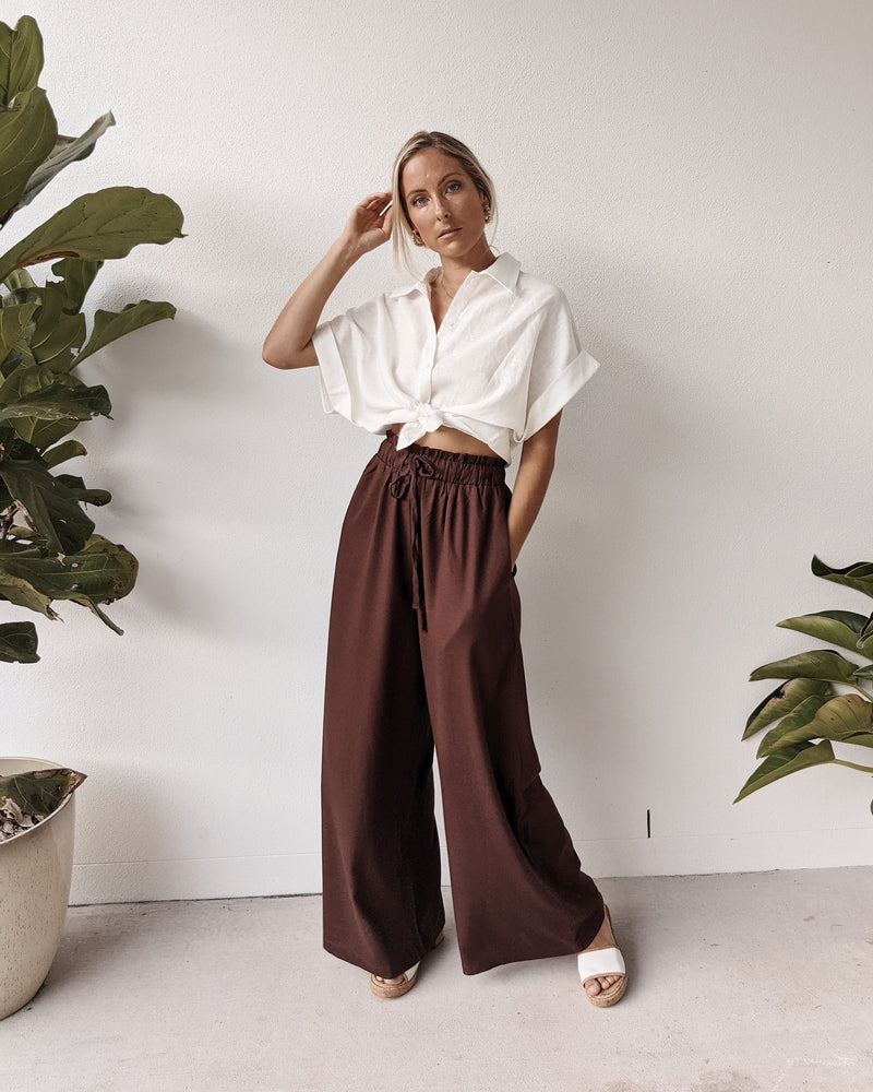 Beau Linen High Waist Pants ~ Chocolate