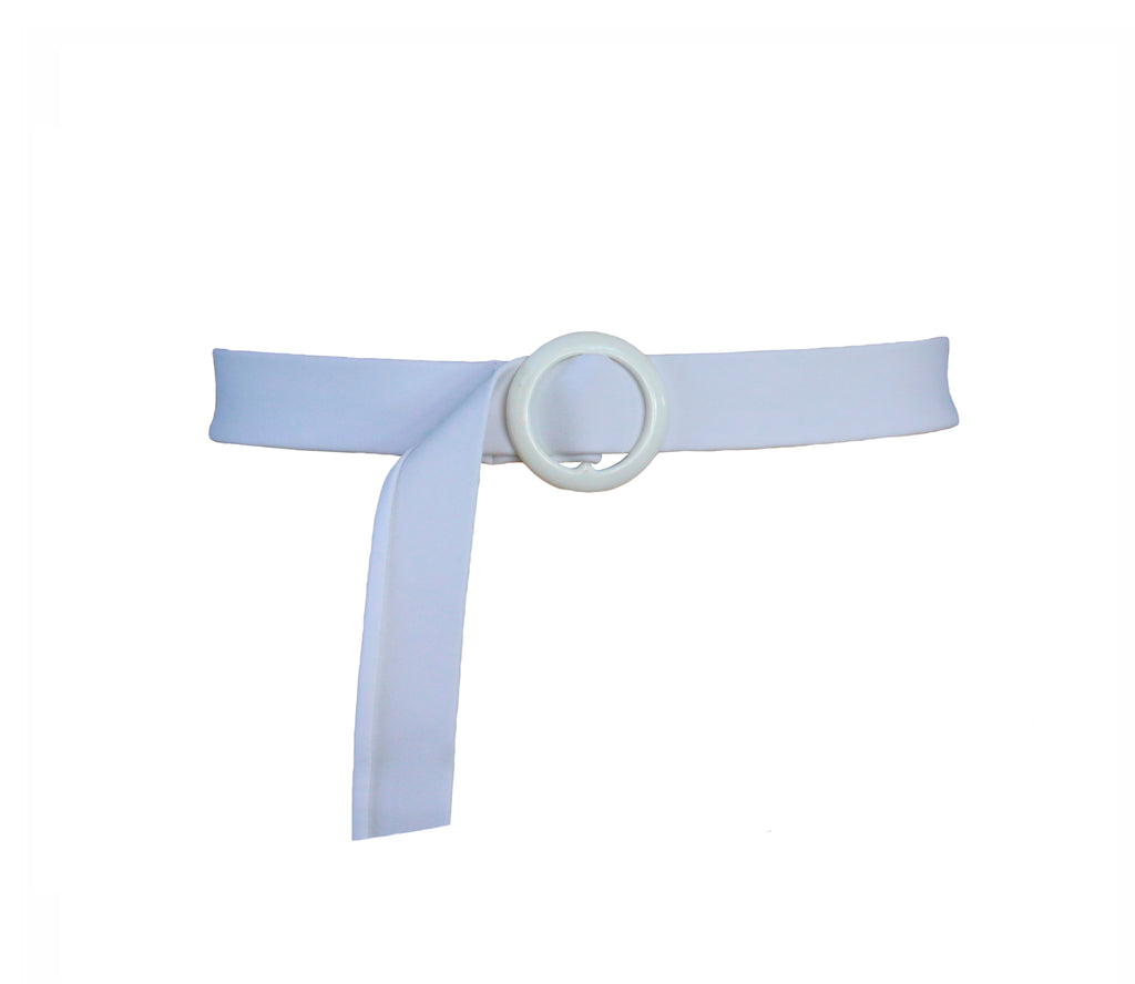 Circle Buckle Swim Belt ~ White