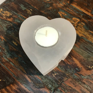 Western lovers will really enjoy these genuine Selenite stones that have been shaped into a heart with   This natural white gemstone has a pearly 'Moon like Glow' to be admired  Each has been hand-carved by talented Artisans with single tea light hole. No two pieces will ever be identical, which is part if their natural beauty.
