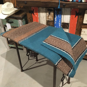 "Wool saddle rug - Teal design 38"" x 34"""