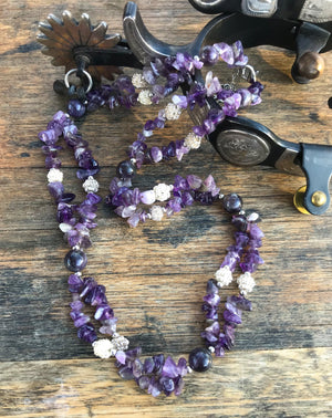 Western Boho  🖤  Natural Amethyst stone beads with handcrafted silver-bead accents on a twin strands  Shorted style necklace to emphasis the collarbone. Lobster and chain fastening. Endless options for outfit choices with these beautiful beaded necklaces.
