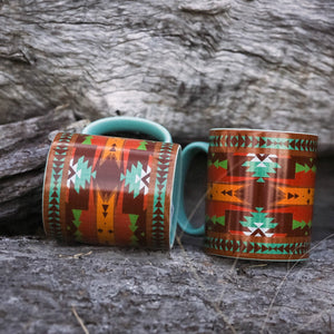 "Enjoy your morning coffee in these badass mugs.  Big Texas style mugs in a colourful Southwest design. We use ours everyday and they've lasted the distance. Then don't drop em as are they are breakable!   Includes: (4) Coffee Mugs  Measurement: A big 6""x4"" x 4.5""H, 20 ounce capacity  Heavy ceramic. Care: Dishwasher and microwave safe"