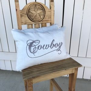 Cowboy Cushion with waterfowl feathers