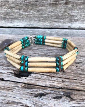 "Handcrafted genuine accessories designed to flatter your features and enhance your style ... you'll never want to take them off.  〰️  Choker necklace. Genuine beads of natural Buffalo Bone, leather accents and layers of natural Royston Turquoise beads.  This gorgeous design the  14"" length."