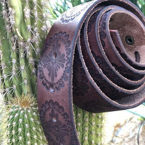 Brown embossed leather belt - all sizes - for cowgirls and the cowboys