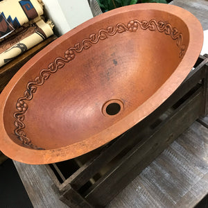 Country copper basin - oval floral motif