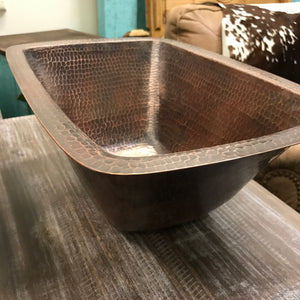 Country copper basin - rectangle