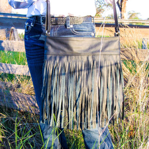 Leather handbag, fringe, cowgirl bag, natural, artisan, australia