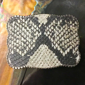 Wallet Buckle Snakeskin embossed leather