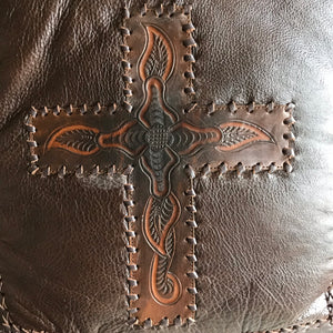 Lexington leather Cushion with cross motif