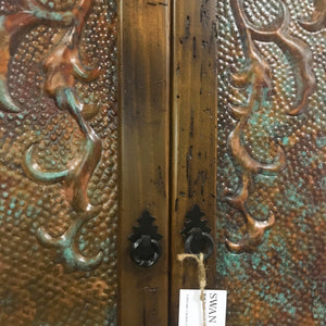 Maverick Armoire with hand hammered embossed copper