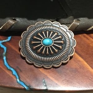 Grande Concho  - Southwest Oval Turquoise Antique Copper
